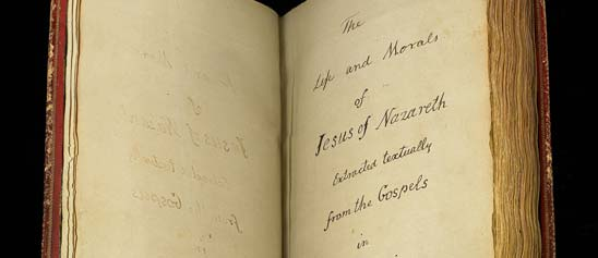 Opening page of Thomas Jefferson's Bible with handwriting