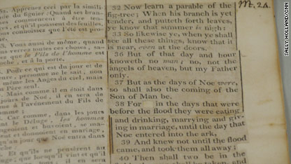 Close up image of the Jefferson Bible's Pages