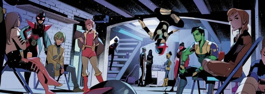 Teen superheroes sitting and loitering in a hangout spot