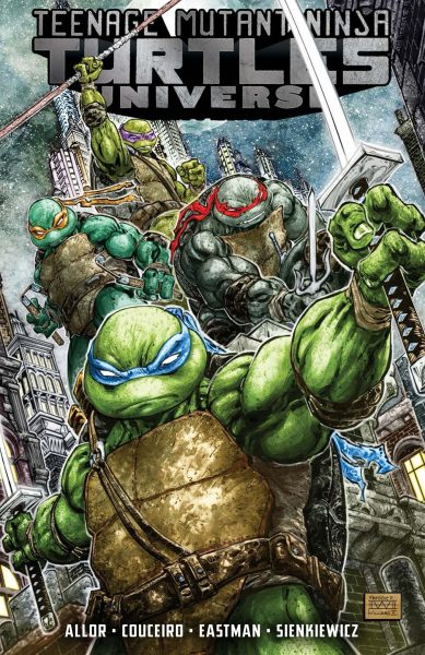 All four turtles holding their weapons and posing