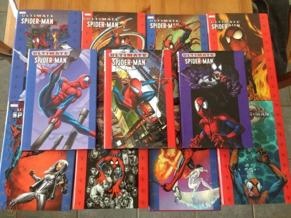 Stacks of Ultimate Spider-Man books