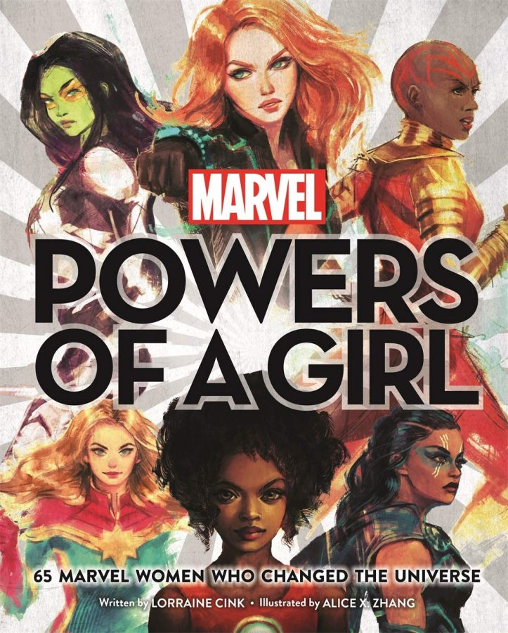 """""""Powers of a Girl"""" with six strong women in a circle around the cover"""