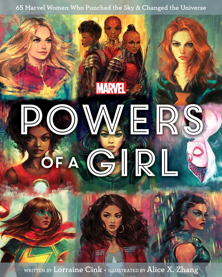 """""""Powers of a Girl"""" written on a collage of female superheroes"""