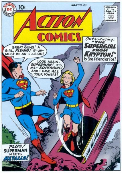 Supergirl bursts from a rocket startling Superman