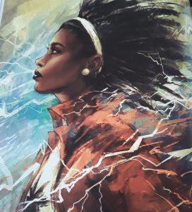 Monica Rambeau surrounded by lightning