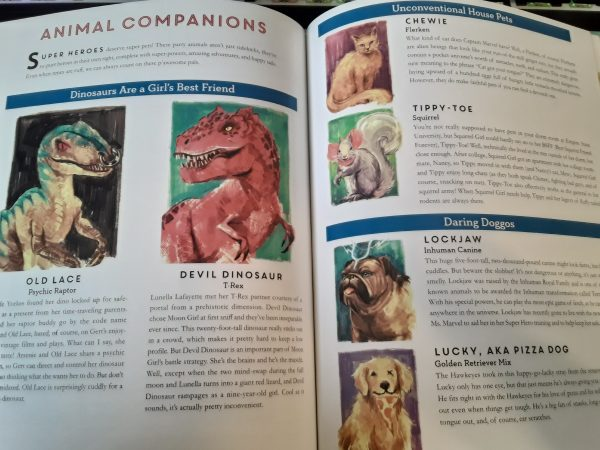 Two-page spread of Marvel pets, including dinosaurs, dogs, and squirrels
