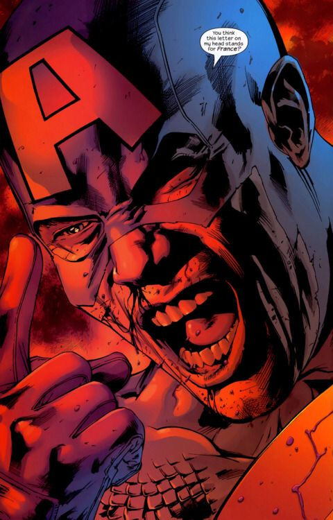 Angry and bloody Captain America