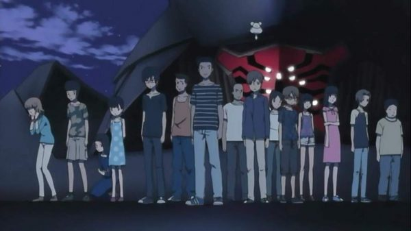 Line of preteens stand before a mech