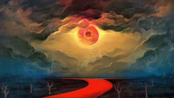 Dark sky with blood-red river and giant red sun looking like an eye