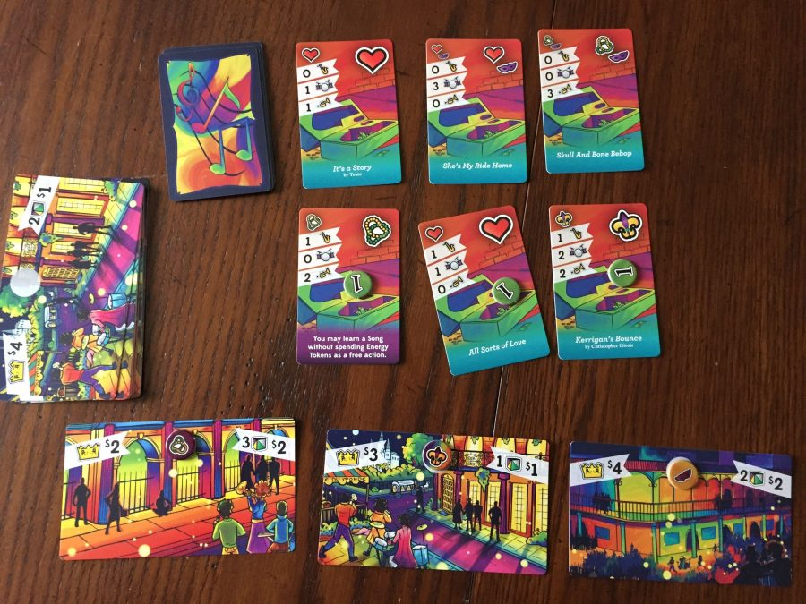The Three Cards each that make up the Starting Melody Market, Standard Songs, and Crowd Cards are shown. Draw piles are off to the left.