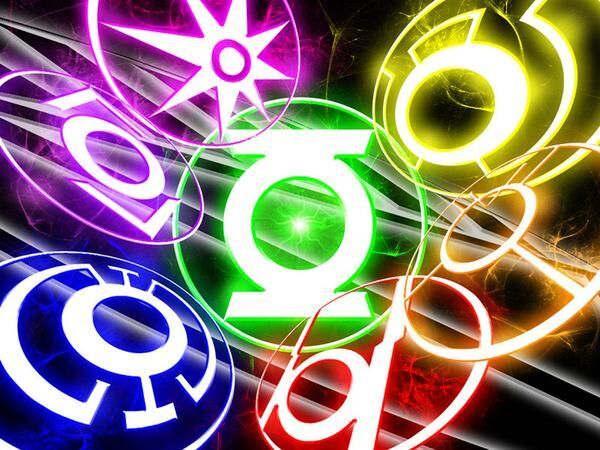 Neon logos for each of the colored lanterns