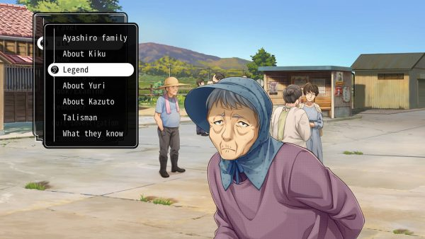 Older woman sprite with a menu on the left-hand side of the screen