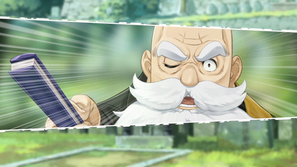 Old man looking threatening
