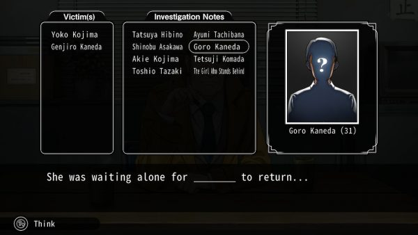 List of victims from which the player must answer a question