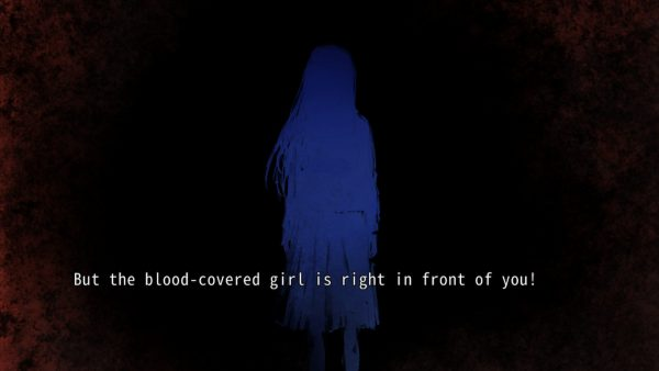 Blue silhouette of a ghostly girl supposedly covered in blood