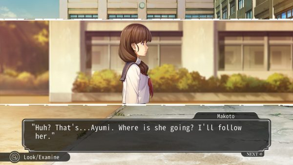 Young girl walking, the protagonist decides to follow her