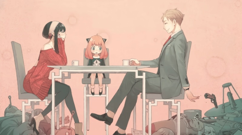 Man, woman, and girl sit around a table and at their feet multiple bodies lay