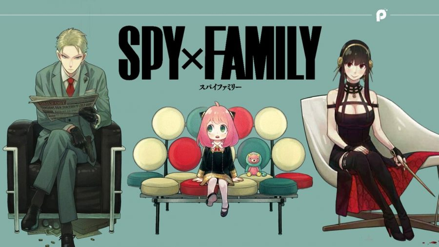 Under a Spy x Family banner sit Twilight, Anya, and Yor in three separate chairs