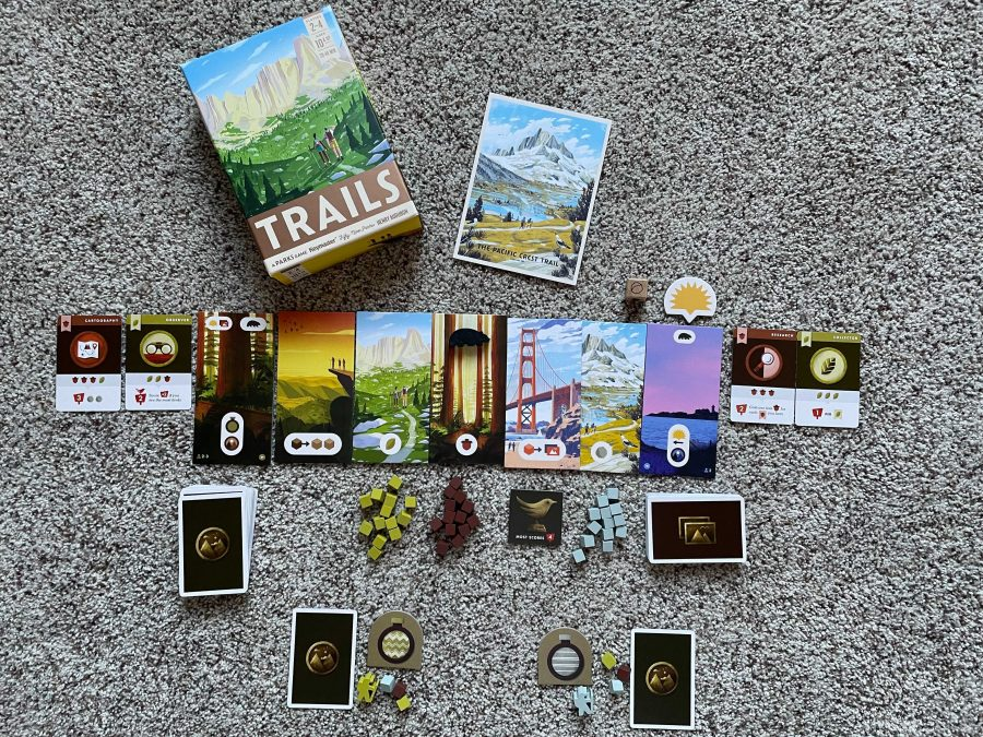 The game is laid out for two players, with all the components and cards showing.