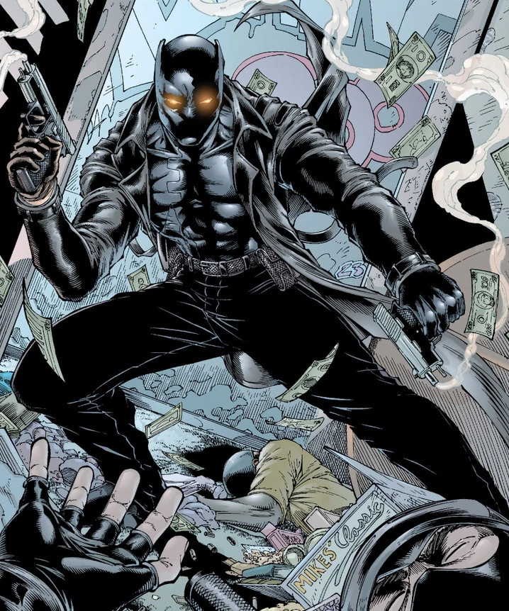 Black Panther Kasper Cole with a leather jacket and gun