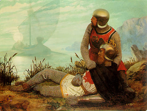 Knight lies fallen while another looks at a ship in the distance