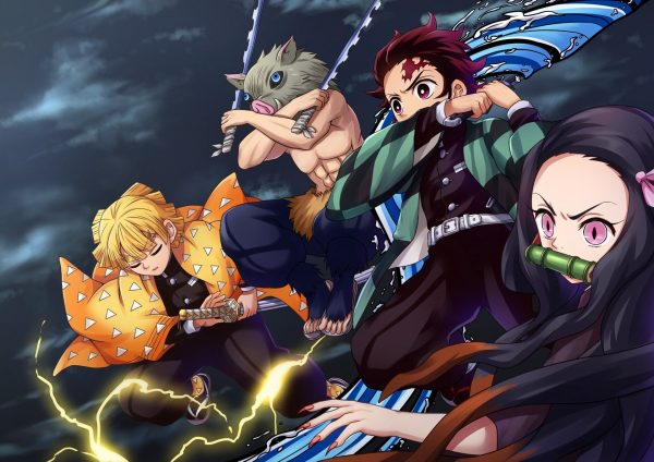 Four main characters of Demon Slayer in their vibrant, colorful action poses